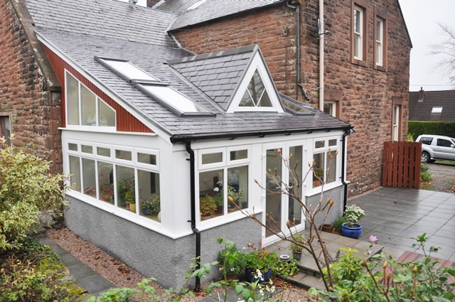 Photograph of a summer house extension in Newton Stewart